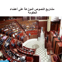 مشاريع النصوص الموزعة على أعضاء الحكومة