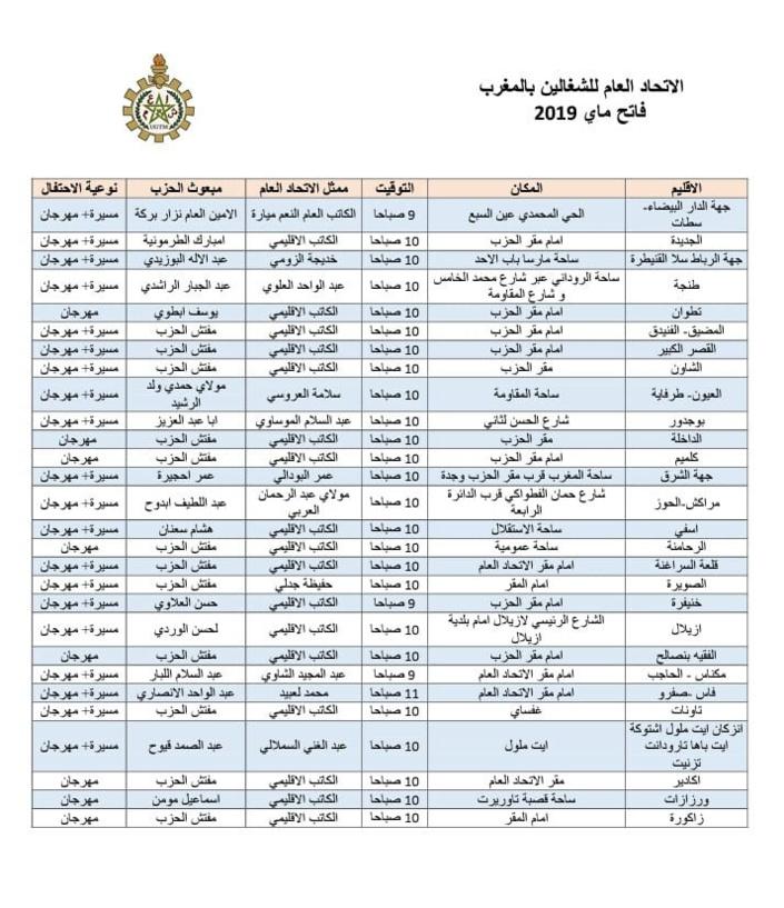 نداء فاتح ماي 2019 : الاتحاد العام للشغالين بالمغرب