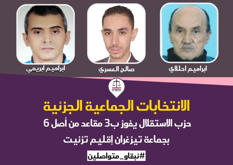 الانتخابات الجماعية الجزئية.. حزب الاستقلال يفوز ب3 مقاعد من أصل 6 بجماعة تيزغران إقليم تيزنيت