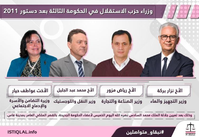 وزراء حزب الاستقلال في الحكومة الثالثة بعد دستور 2011