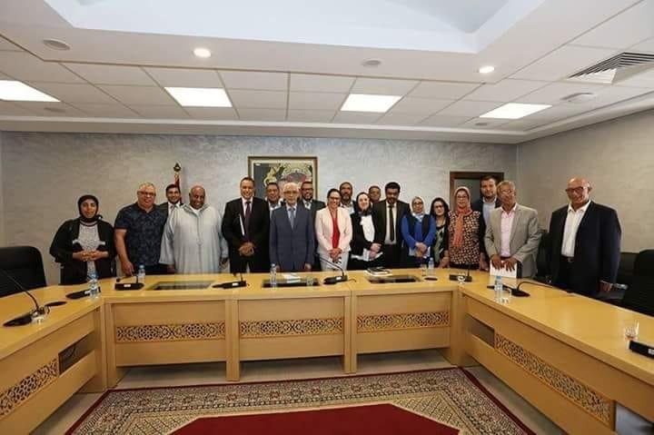 أعضاء من المكتب التنفيذي للجامعة الوطنية لموظفي وأعوان الشبيبة والرياضة في  لقاء مع  السيد الوزيروالسيدة الكاتبة العامة للوزارة